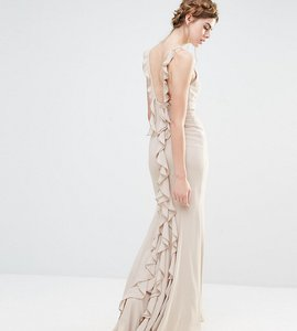 Read more about Jarlo wedding maxi dress with fishtail and ruffles at back - silver grey
