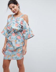 Read more about Asos salon bow front kimono mini dress in tropical jacquard - multi