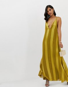 Read more about Asos design trapeze maxi dress with plunge neck in soft and solid stripe