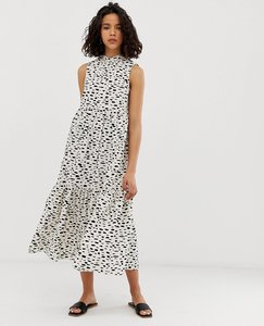 Read more about Asos design sleeveless tiered cotton midi dress in splodge print