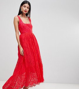 Read more about Asos tall square neck pephem midi dress - red