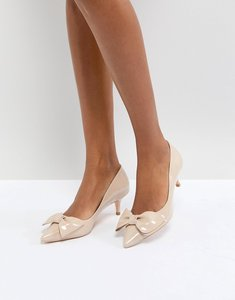Read more about Dune london kitten heel shoe with bow - nude