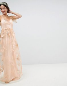 Read more about Asos wedding delicate lace maxi dress with embroidered flowers - multi