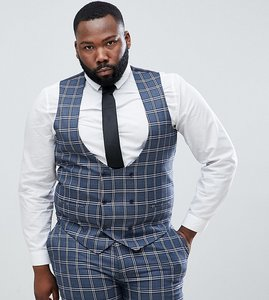 Read more about Asos design plus wedding skinny suit waistcoat in blue and white check - blue