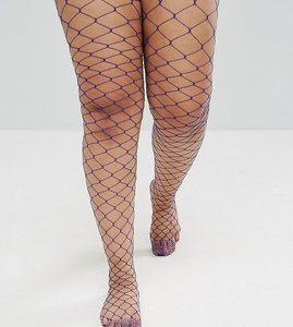 Read more about Asos curve oversized fishnet tights in blue - blue