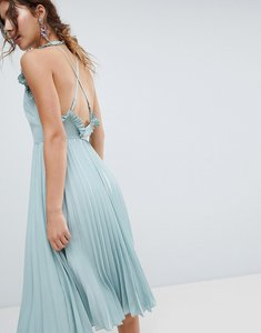 Read more about Asos pleated midi dress with ruffle open back - mint green