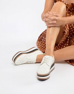 Read more about Steve madden greco leather flatform shoe - white