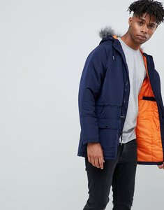 Read more about Another influence hooded parka jacket with faux fur hood - navy