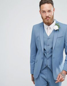 Read more about Asos wedding skinny suit jacket in airforce blue - blue