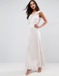 Read more about Asos wedding slinky drape front maxi dress - stone