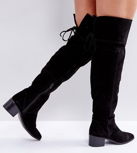 Read more about Asos kobra wide fit suede over the knee boots - black suede