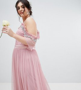 Read more about Maya plus cold shoulder sequin detail tulle maxi dress with ruffle detail - vintage rose