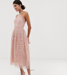 Read more about Asos design tall lace midi dress with pinny bodice