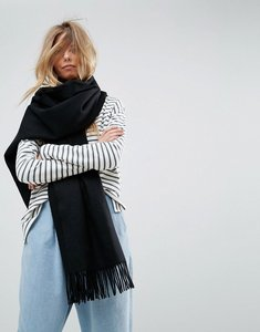 Read more about Asos long oversized lambswool scarf - black