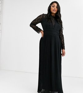 Read more about Tfnc plus bridesmaid high neck long sleeve pleated maxi dress with lace inserts in black