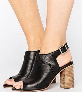 Read more about Asos elder wide fit leather peep toe shoe boots - black