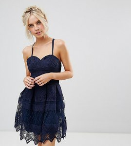Read more about Chi chi london petite cami strap midi dress in cutwork lace - navy