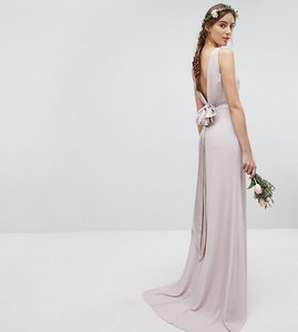 Read more about Tfnc tall sateen bow back maxi bridesmaid dress - mink
