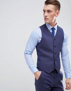 Read more about Asos design wedding super skinny suit waistcoat in indigo linen - indigo
