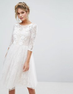 Read more about Chi chi london bridal lace midi dress with 3d applique - white