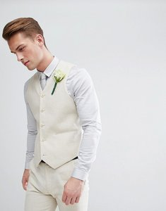 Read more about Asos wedding super skinny suit waistcoat in linen - putty
