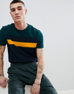 Read more about Asos design t-shirt in towelling with contrast colour block in navy - navy