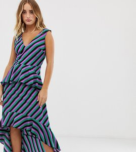 Read more about Missguided dip hem maxi dress with frill detail in purple stripe