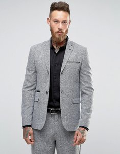 Read more about Asos skinny suit jacket in prince of wales check - grey