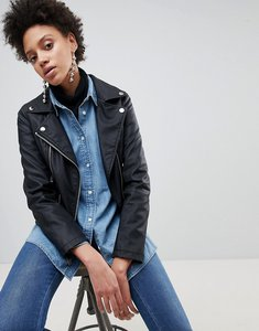 Read more about Stradivarius leather look biker jacket - black