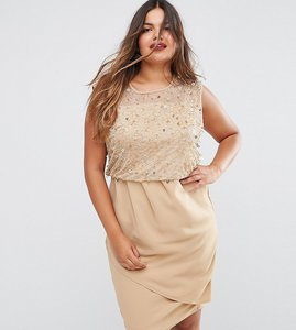 Read more about Asos curve midi dress with embellished bodice - nude