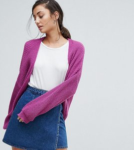 Read more about Asos tall chunky cardigan in fluffy rib - purple