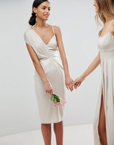 Read more about Asos design bridesmaid satin pencil midi dress with tie back - champagne