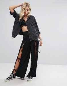 Read more about Glamorous wide leg trousers with open tie detail - black
