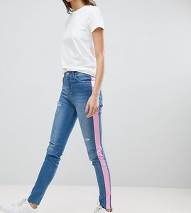 Read more about Chorus tall pink foil side stripe skinny jeans - blue pink stripe