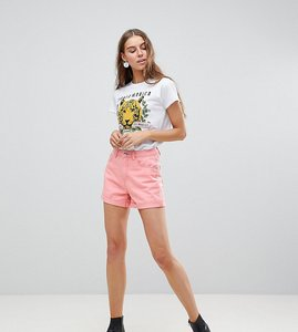 Read more about Vero moda tall roll up denim shorts - pink