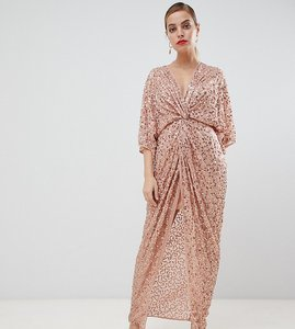 Read more about Asos design petite scatter sequin knot front kimono maxi dress