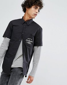 Read more about Love moschino chest pocket print short sleeve shirt - black
