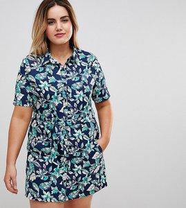 Read more about Uttam boutique plus floral print button front skater dress - multi