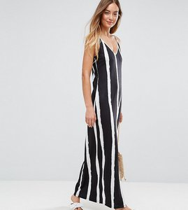 Read more about Asos tall maxi dress with v back in blurred stripe - multi