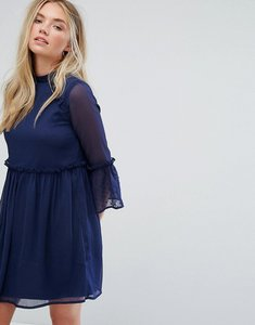 Read more about Influence smock dress with flare sleeve - navy