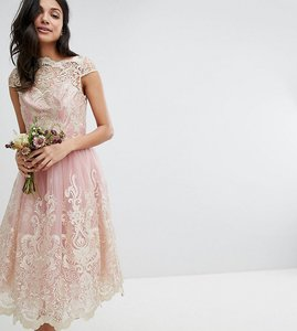 Read more about Chi chi london tall premium lace midi prom dress with bardot neck - vintage rose gold