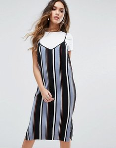 Read more about Missguided stripe 2 in 1 cami dress - multi
