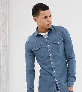 Read more about Asos design tall skinny western denim shirt in mid wash