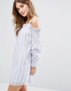 Read more about Miss selfridge stripe bardot dress - blue white