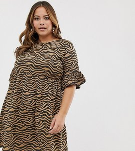 Read more about Missguided plus smock dress with frill sleeves in animal print