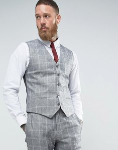 Read more about French connection slim fit linen check waistcoat - grey