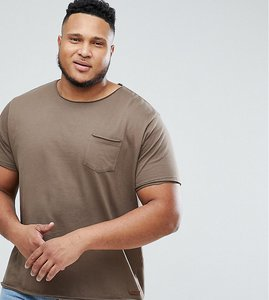 Read more about Brave soul plus basic raw edge t-shirt - brown