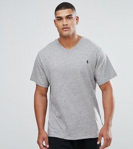 Read more about Polo ralph lauren tall v neck t-shirt with logo in grey marl - dark vintage heather