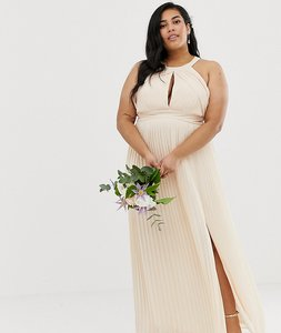 Read more about Tfnc plus bridesmaid exclusive pleated maxi dress in pearl pink