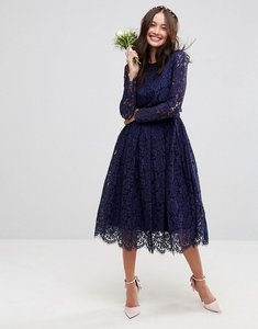Read more about Asos wedding lace long sleeve midi prom dress - navy